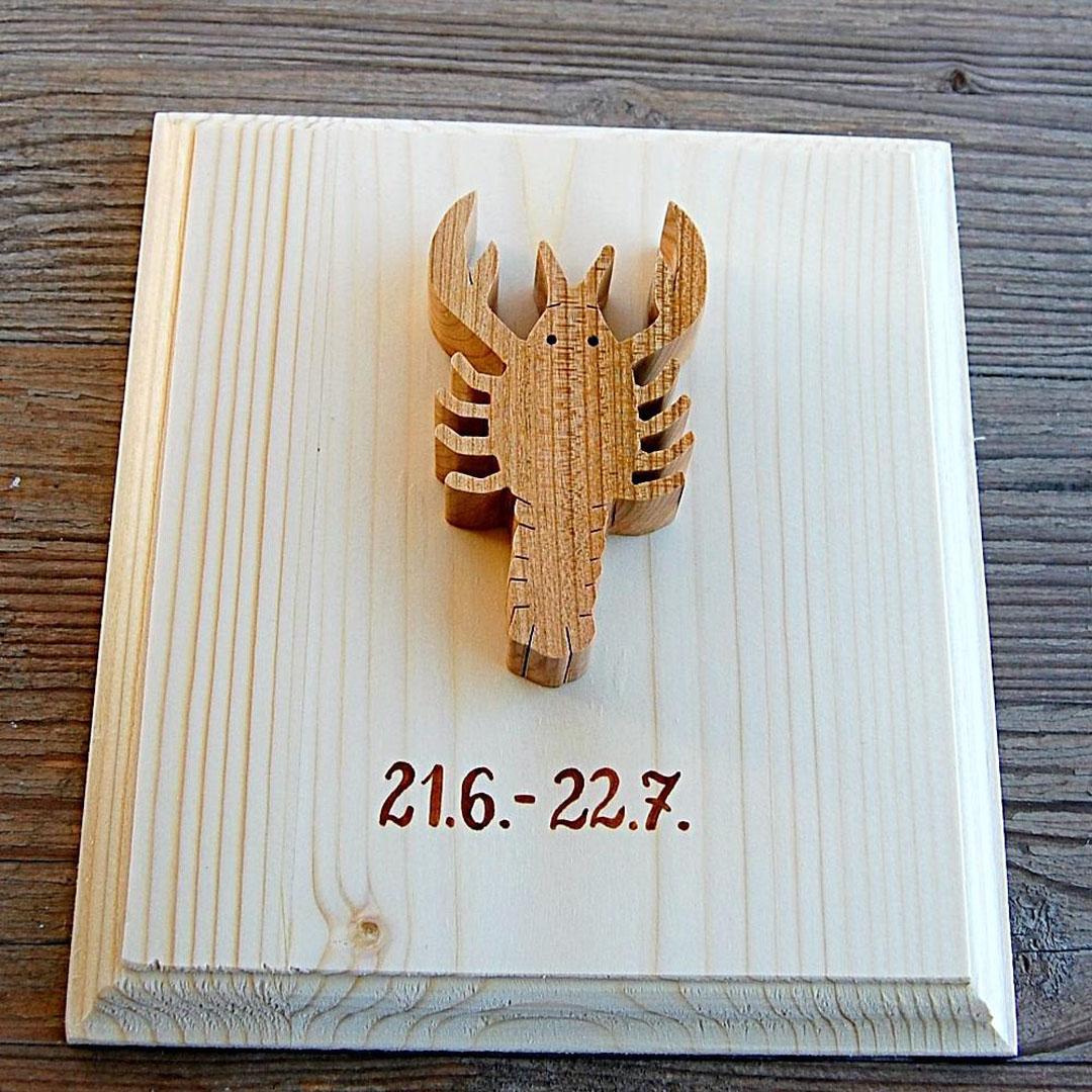 Znamenie horoskopu Rak drevený obraz - znamenia dekorácie- znamenie rak obraz-