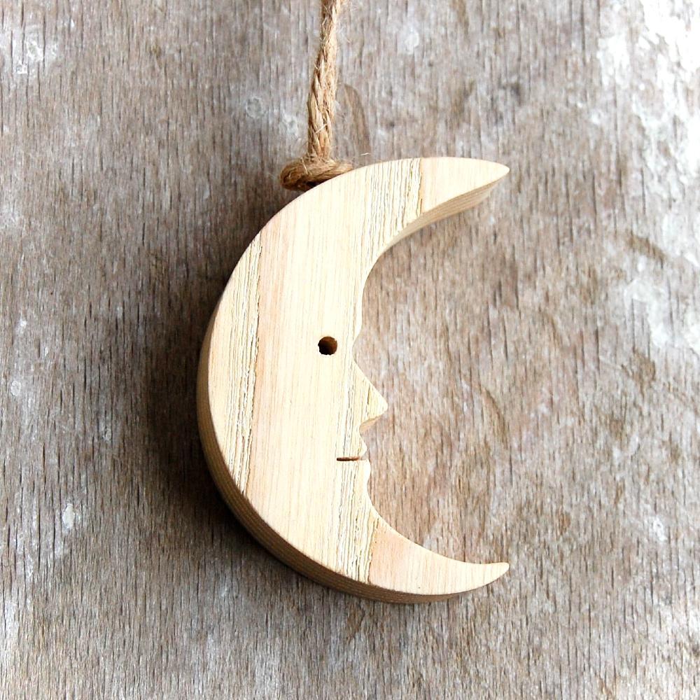 Drevený Mesiačik-dekorácia mesiac-dekorácia pre deti-závesný drevený mesiac