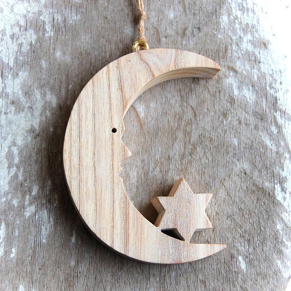 Drevený Mesiac s Hviezdou- drevený mesiac-dekorácia mesiac-dekorácia pre deti