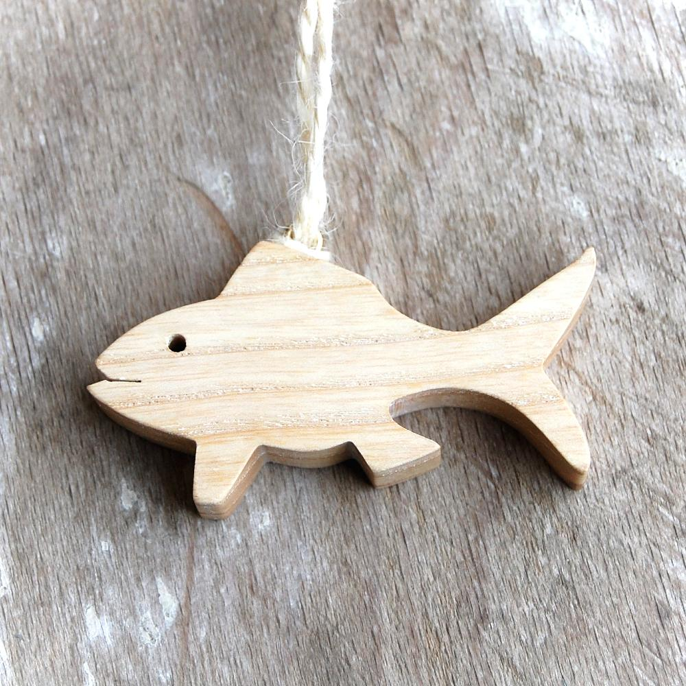 Malá Drevená Rybka natur-dekorácia drevená rybka-závesná drevená rybka