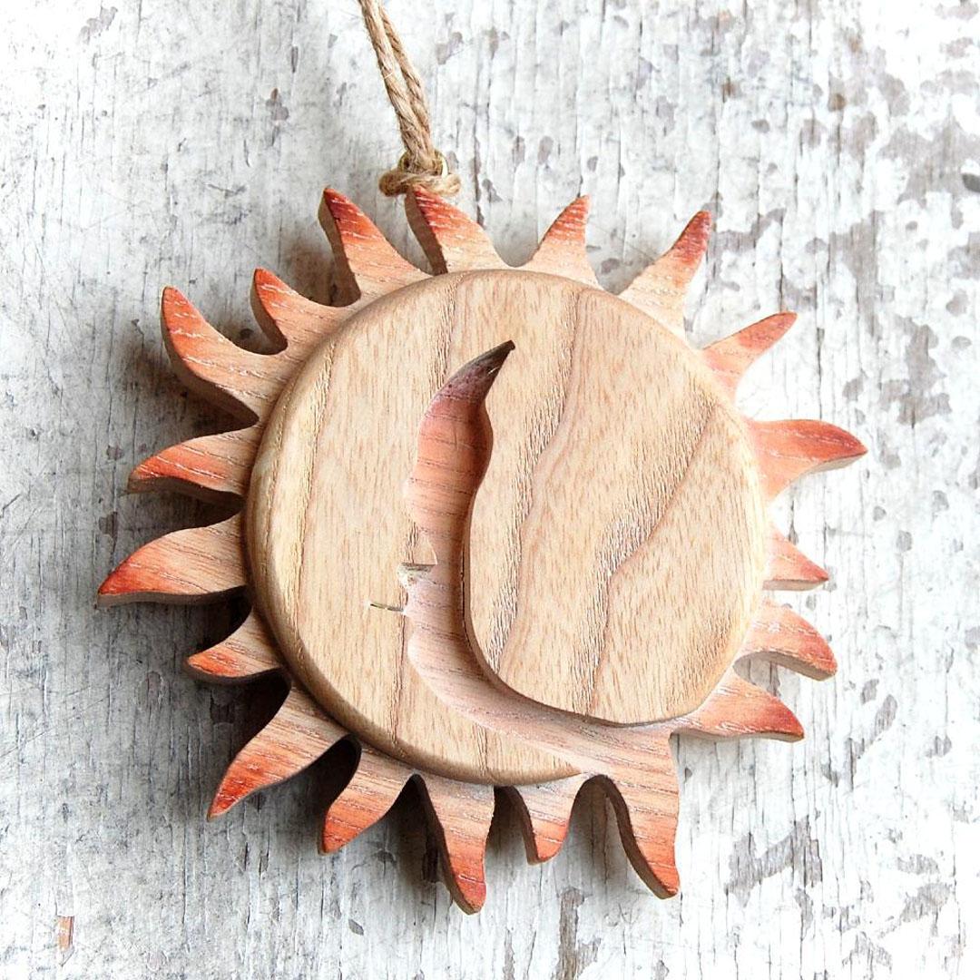 Drevené Slnko a Mesiac-dekorácia slnko a mesiac