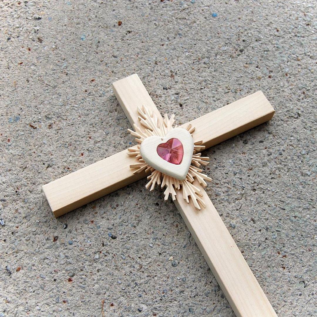 Veľký drevený kríž s Krištáľovým Srdcom-drevený kríž-kríž s krištálom -kríž pre novomanželov-kresťanské darčeky