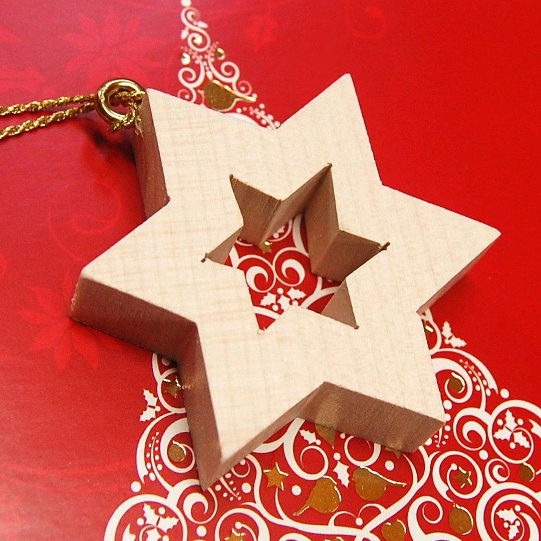 Drevena hviezda luxusne vianocne dekoracie