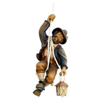Mountain-climber-hanging-with-Lantern-woodcarving