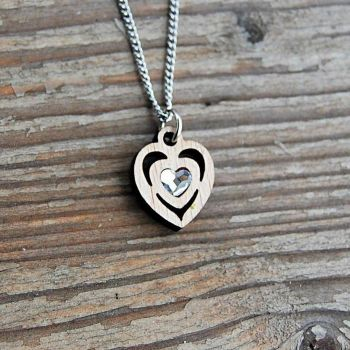 SG3-2 Crystal Heart Pendant Necklace