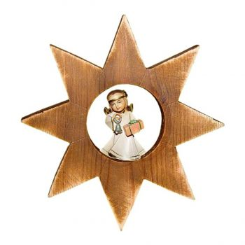 101149 Wooden Angel with Gift Star Ornament