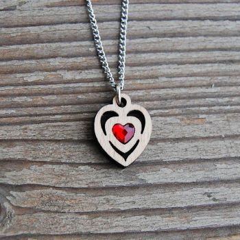 SG3-1 Red Heart Pendant Necklace