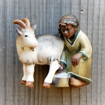 Shepherd boy with goat for wooden African Nativity set