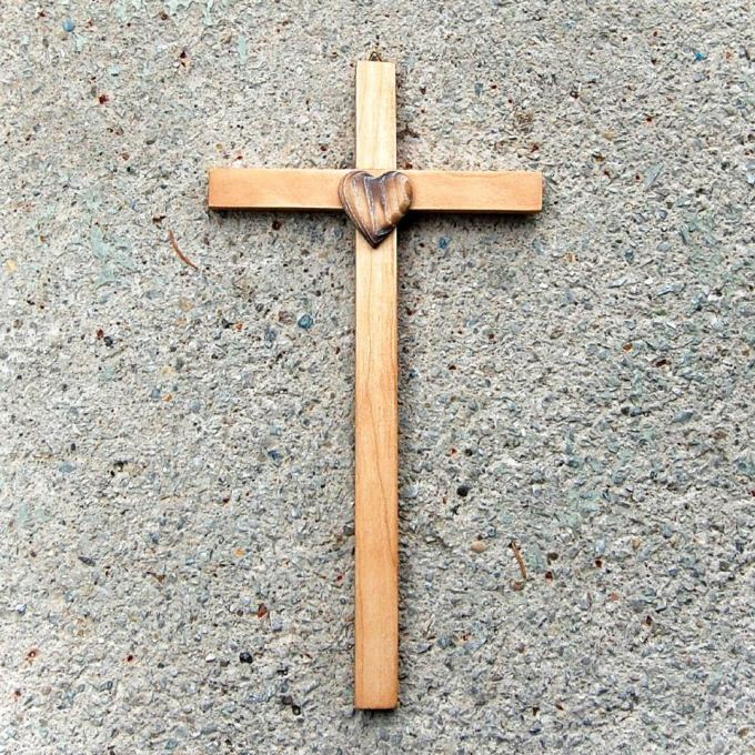 Wooden Wall cross with Heart