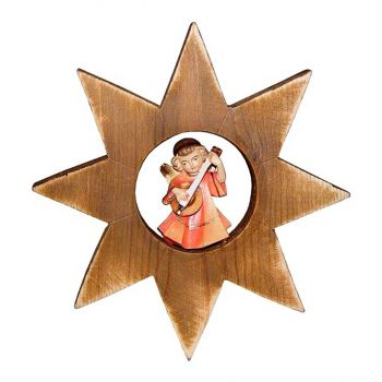 101147 Wooden Angel with Mandoline Star Ornament