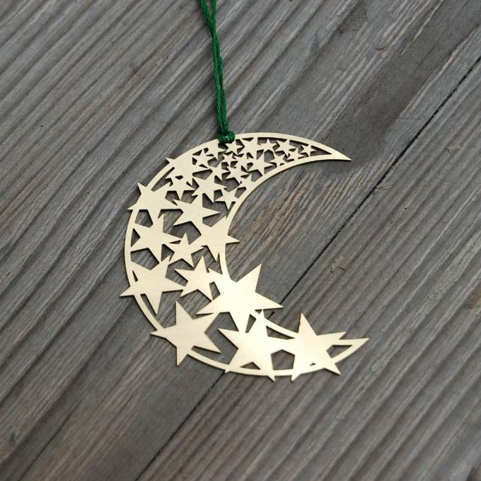 Moon and Stars Brass Ornament