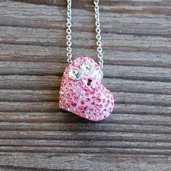 Heart with Crystal silver necklace 1