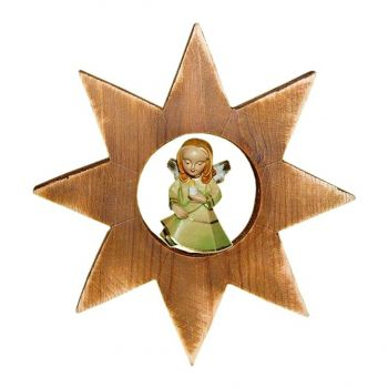 101148 Wooden Angel with Candle Star Ornament